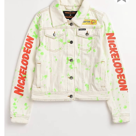NWT NICKELODEON X MEMBERS ONLY RUGRATS WINDBREAKER JACKET   WHITE  size LARGE